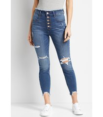 maurices womens super high rise medium wash button fly jegging blue