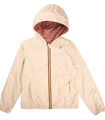 k-way jacket reversible very light pink / dark pink