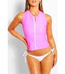 rashguard-bikini met rits, roze