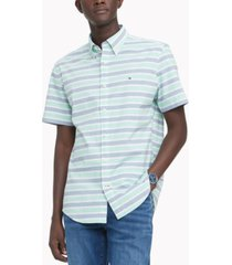 tommy hilfiger men's custom-fit th flex stretch poplin hill stripe shirt