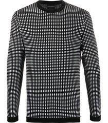 emporio armani crew neck square print sweatshirt - black