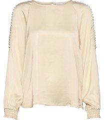 blouse w. raglan and smock cuffs blus långärmad brun coster copenhagen