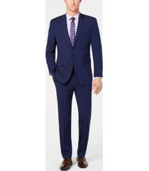 marc new york by andrew marc men's modern-fit stretch dark blue solid suit