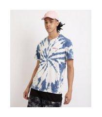"""camiseta masculina estampada tie dye smile"""" gola careca manga curta azul"""""""