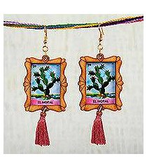 wood dangle earrings, 'prickly pear' (mexico)