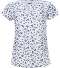 camiseta mujer ramillete azul color blanco, talla l
