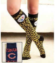 chicago bears nfl women's leopard print knee-high socks!
