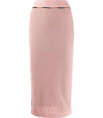 fendi ff motif mesh pencil skirt - pink