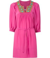 brigitte hand embroidered dress - pink