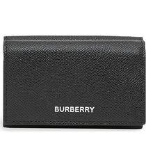 burberry small logo-print folding wallet - black