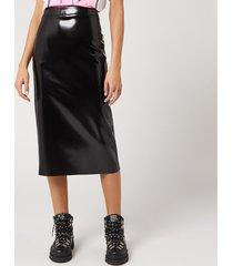 mcq alexander mcqueen women's pu skirt - black - it 40/uk 8