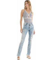 body alca elastico estampado jeans p