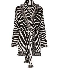 alanui frayed jacquard-knit wool cardigan - black