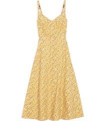 corset midi dress in yellow floral