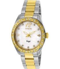 reloj invicta acero dorado modelo 274ki para dama, colección angel