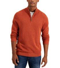 club room men's quarter-zip cotton sweater, created for macy's