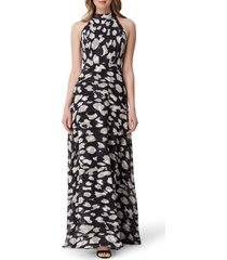 women's tahari animal print halter neck gown