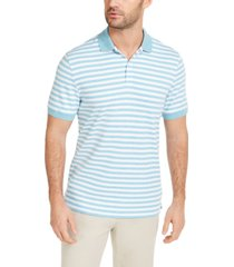 club room men's striped interlock polo shirt, created for macy's