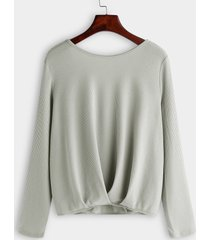 gris sin espalda diseño espalda cruzada redonda cuello camisetas de manga larga