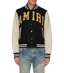 bandana print logo applique baseball jacket