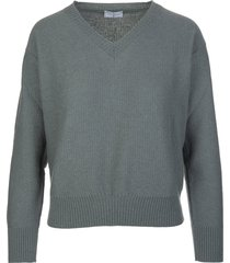 fedeli woman antique green cashmere pullover with v-neck