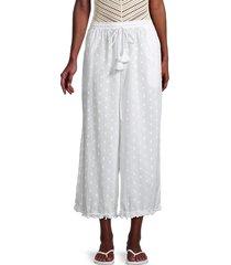robin piccone women's thea cropped wide-leg pants - white - size m
