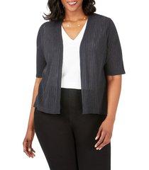 plus size women's foxcroft clarabelle stripe stitch cardigan, size 3x - black