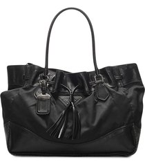 prada pre-owned triangle logo drawstring tote bag - black