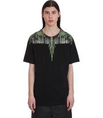 marcelo burlon wood wings t-shirt in black cotton