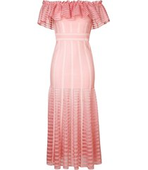 alexander mcqueen off-shoulder long dress - pink