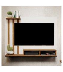painel para tv de 48 polegadas dubai  off white / nature - mania de móveis