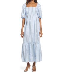 fourteenth place stripe puff sleeve midi dress, size x-large in blue white stripe at nordstrom