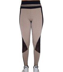 calça legging quadriculado preto com detalhe em tule