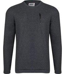 camiseta manga longa khelf masculina canelada cinza mescla