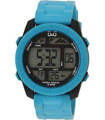 promoción reloj q&q referencia m123j004y original azul