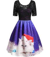christmas cat snowflake lace insert v back dress