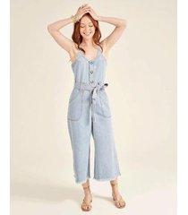 macacão zinzane pantacourt jeans com faixa denim medio feminino - masculino
