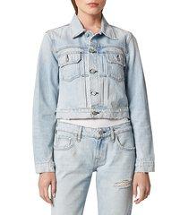 hudson women's lola shrunken denim trucker jacket - out numbered - size m