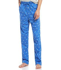 polo ralph lauren men's multi-pony pj woven pajama pants (racer blue, medium)