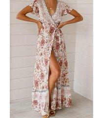 estilo bohemio vestido estampado de playa - rosa