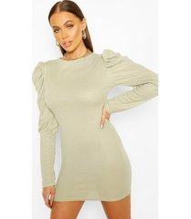 ribbed puff sleeve bodycon dress, sage