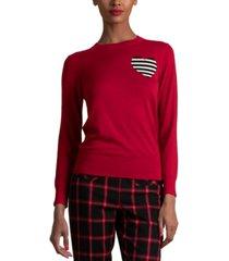 trina turk wool striped-heart sweater