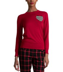 trina turk wool striped-heart sweater