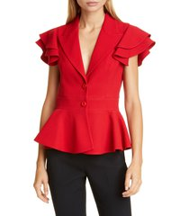 women's michael kors collection ruffle sleeve peplum jacket