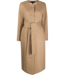 escada belted single-breasted coat - neutrals