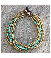 beaded bracelet, 'turquoise freedom' (thailand)
