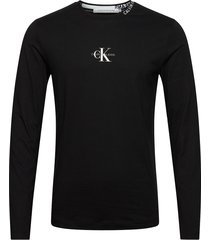center monogram ls tee t-shirts long-sleeved svart calvin klein jeans
