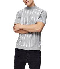men's topman stripe short sleeve mock neck sweater