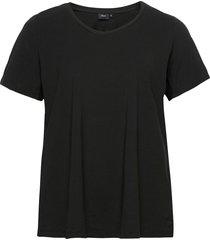 t-shirt plus cotton basics loose fit t-shirts & tops short-sleeved svart zizzi