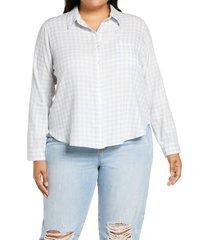 plus size women's bp. plaid long sleeve cotton button up shirt, size 1x - blue